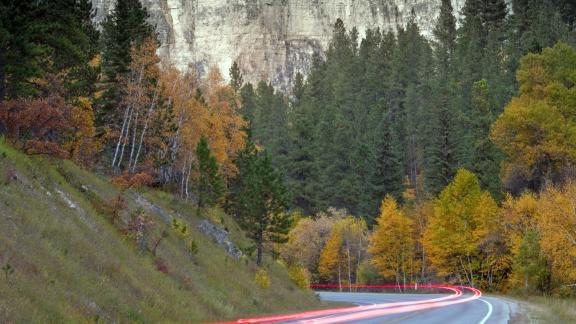 Light trails from cars on the Spearfish Canyon State and National Forest Service Scenic Byway