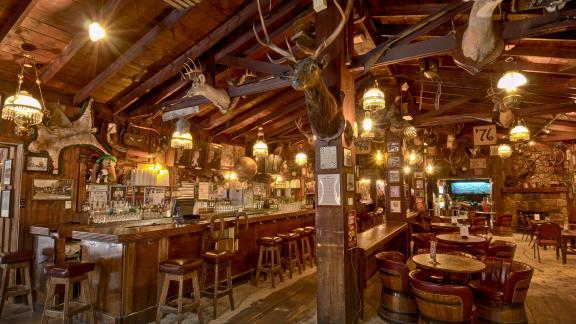 Rustic decor inside Saloon No. 10.
