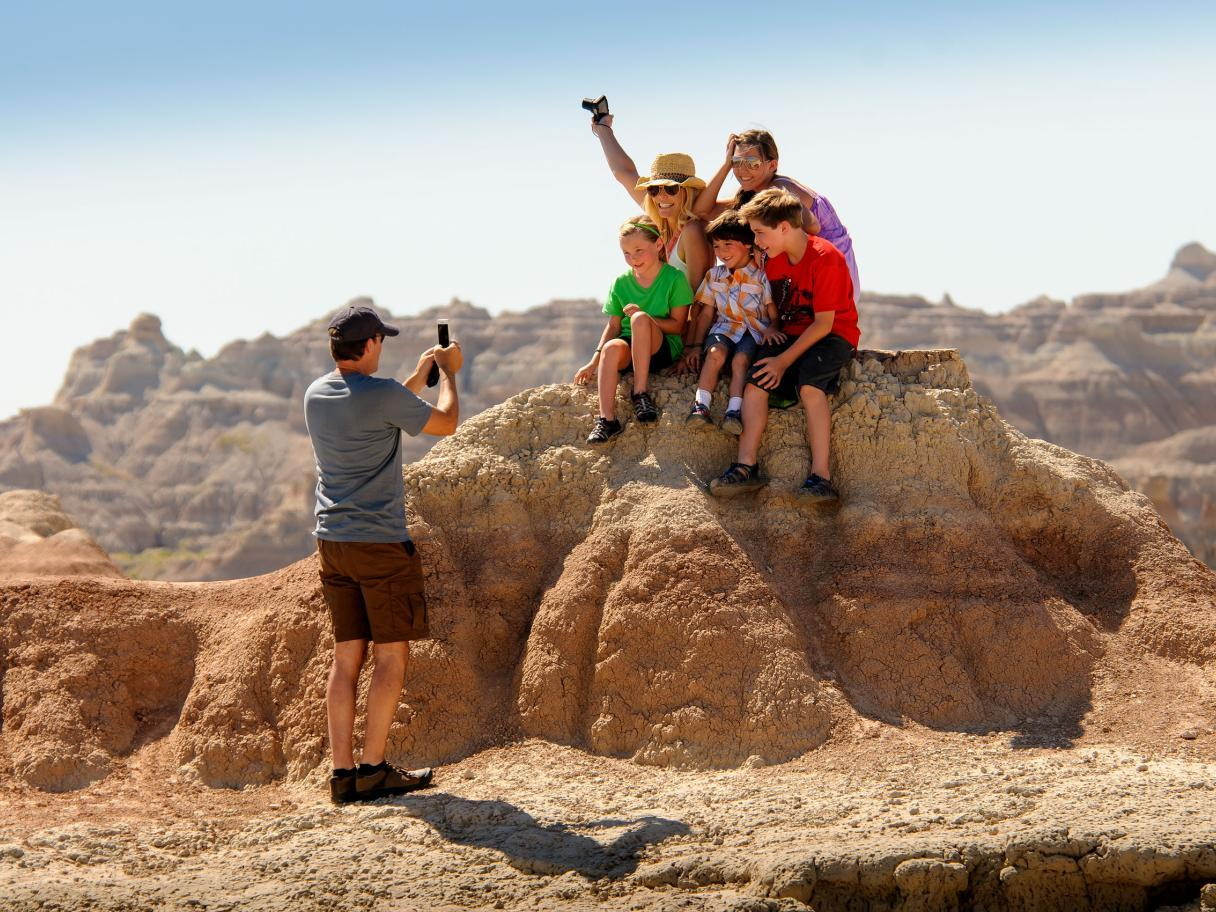 Family photo in the Badlands