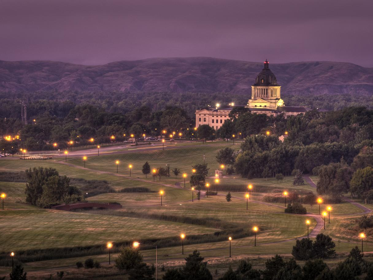 South Dakota State Capitol at twilight
