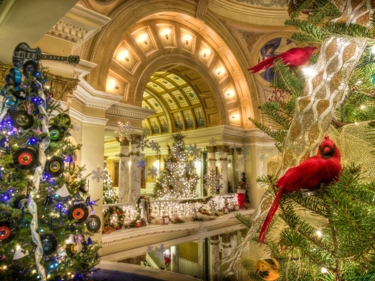 Themed Christmas trees at the Capitol building