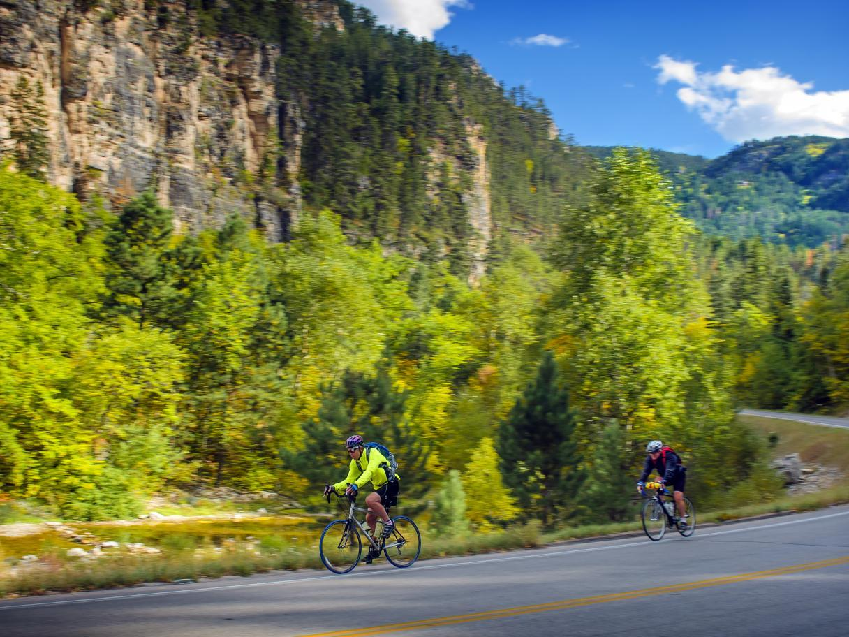 Biking the scenic byway in Spearfish Canyon