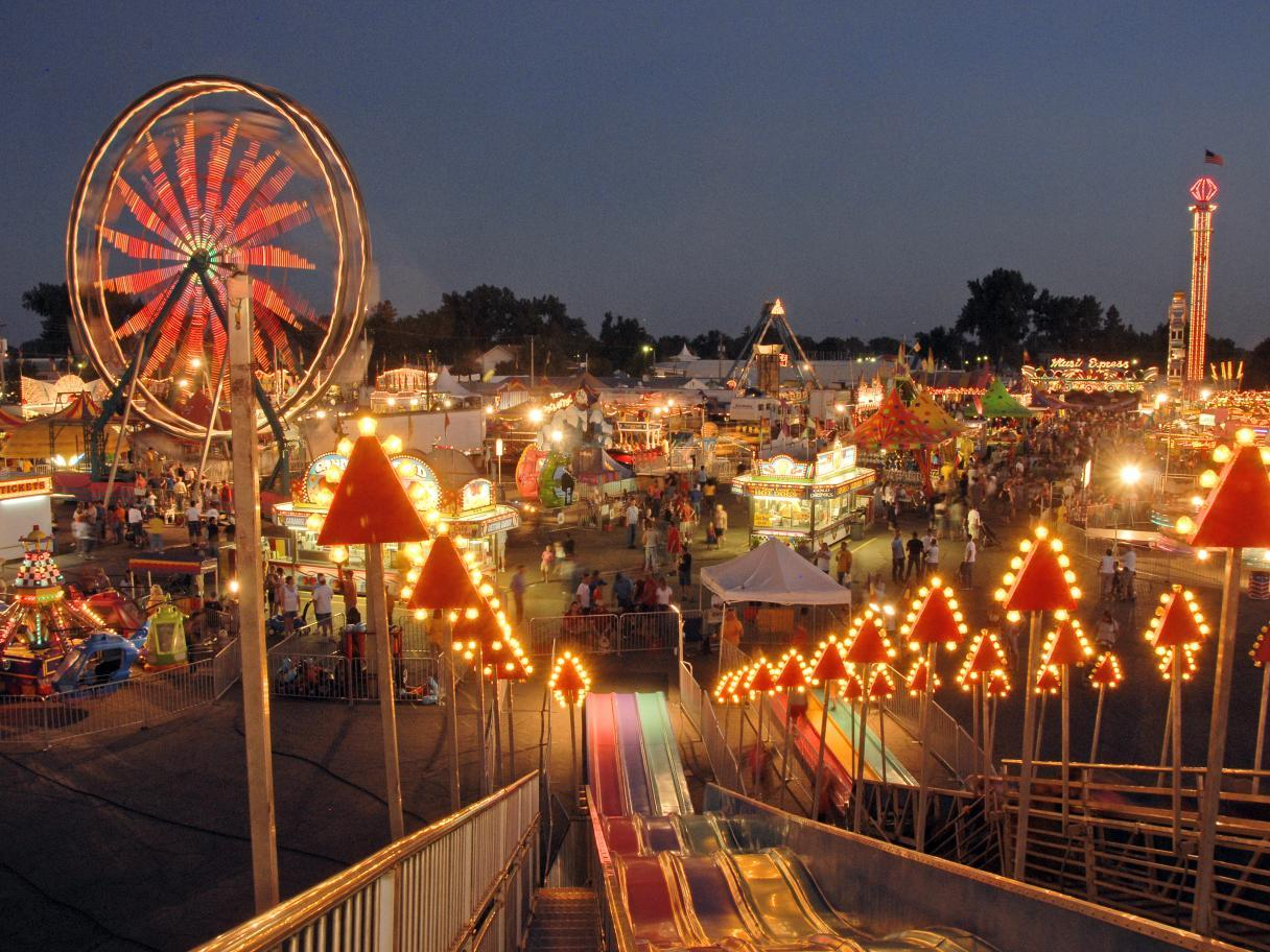 South Dakota State Fair lit up at night