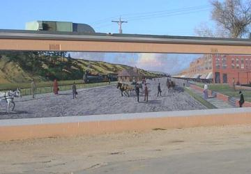 Minnekahta Avenue mural, by Del Iron Cloud, Hot Springs