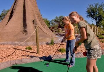 Mini-Golf With Volcano Erupting