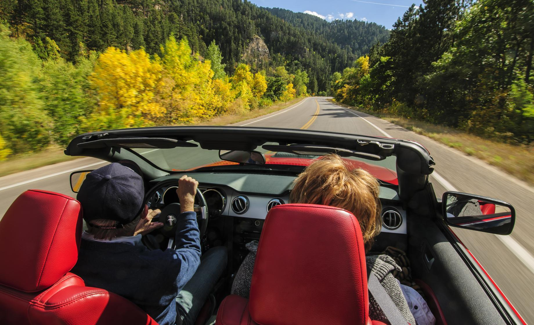 Driving along the Spearfish Canyon State and National Forest Service Scenic Byway