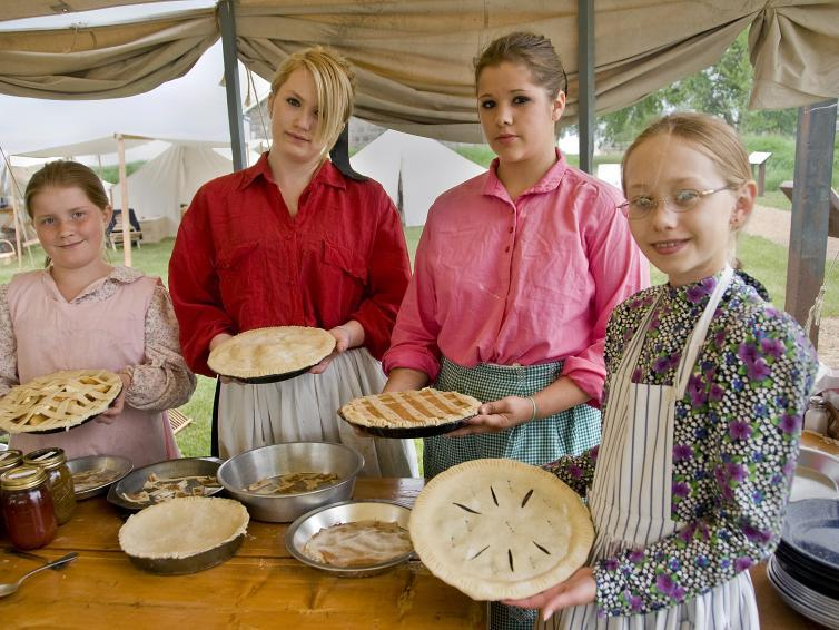 Baking pies at Frontier Fort Festival