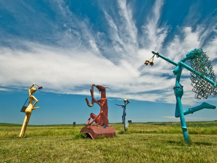 Porter Sculpture Park, colorful sculptures