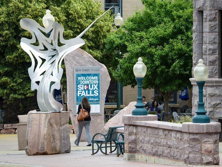 The Sculpture Walk in Sioux Falls featuring the Portal sculpture by Tommy Riefe