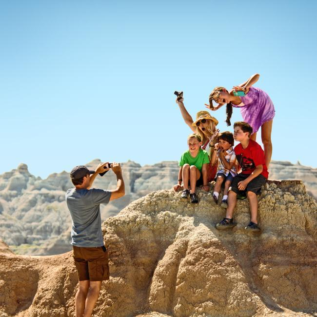 Family hiking in Badlands