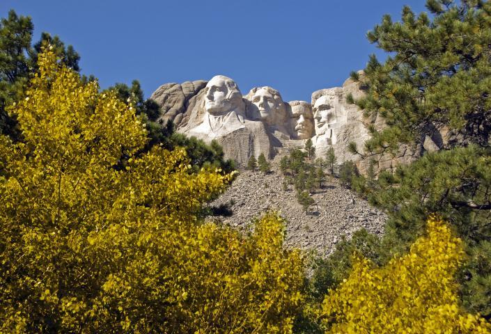 Mount Rushmore in fall