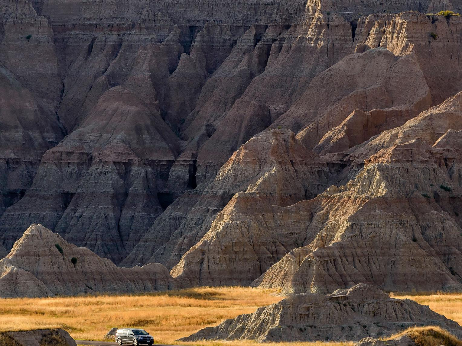 Minivan Driving Badlands Loop State Scenic Byway cc08-27-16