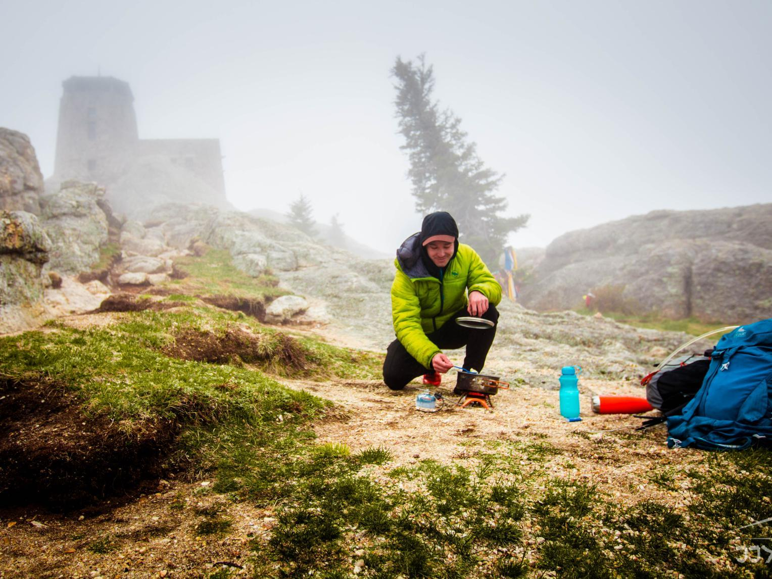 Cooking over the camp stove at Black Elk Peak