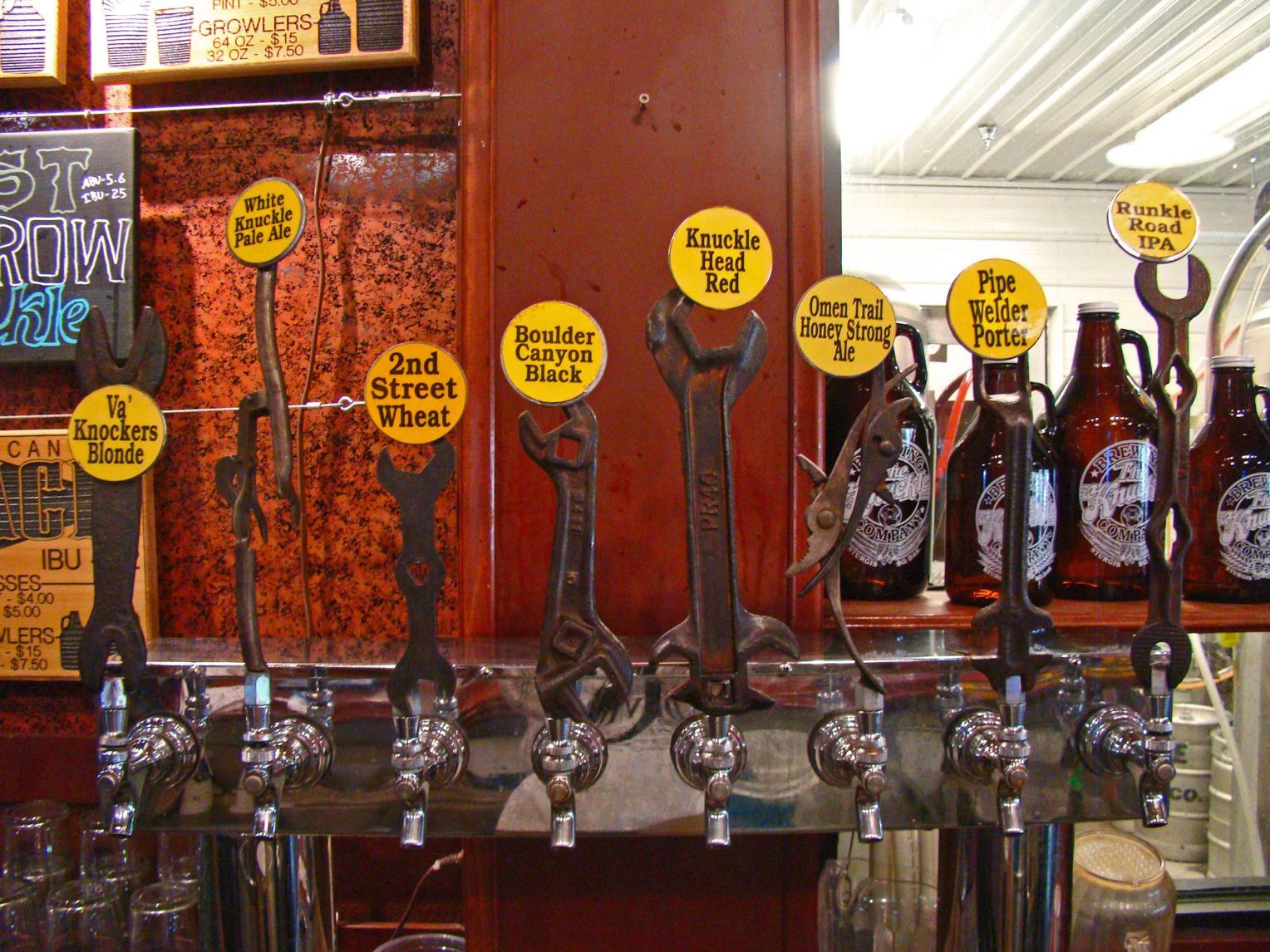 Beers on tap at the Knuckle Brewing Company