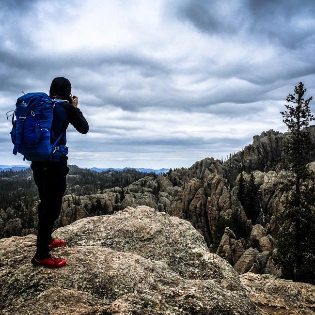 Taking photographs at Black Elk Peak