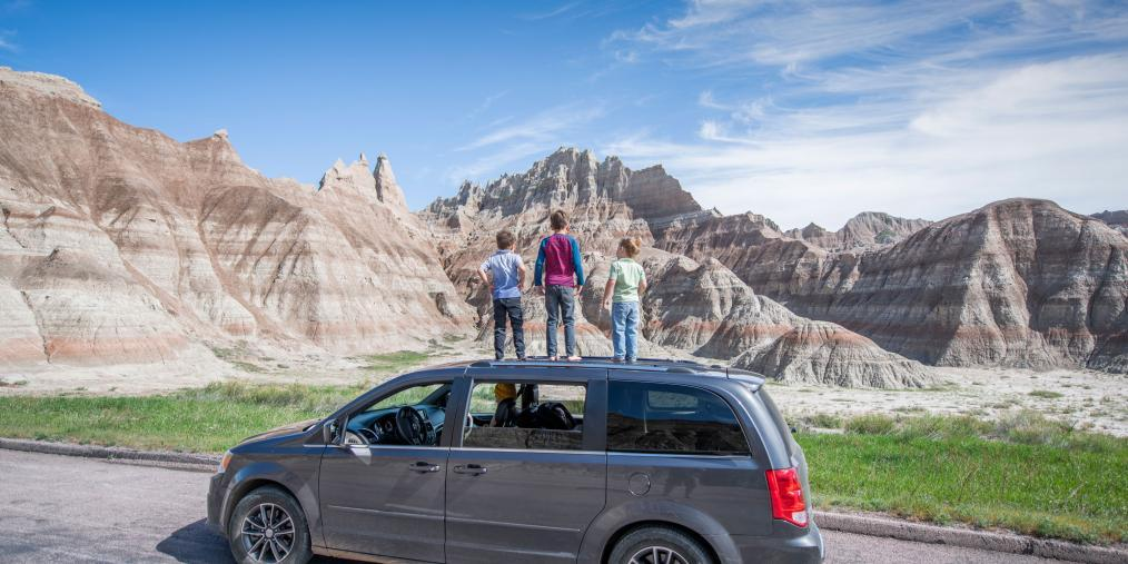 Kids on minivan Badlands Loop Scenic Byway