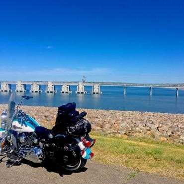 Motorcycle by Lake Oahe