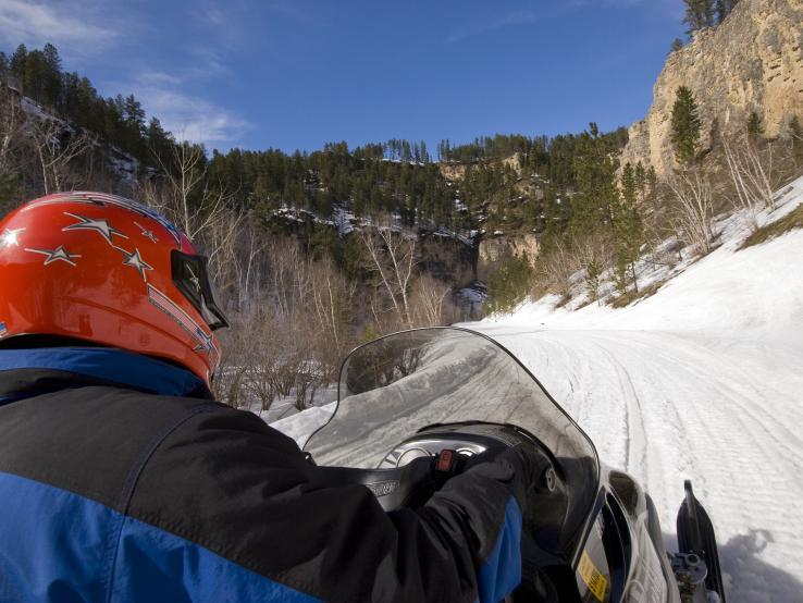 Snowmobiling in Spearfish Canyon
