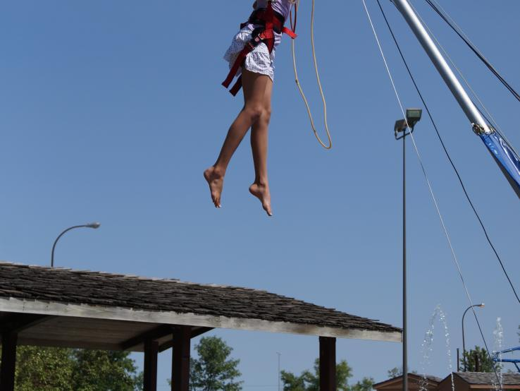 Girl jumping on Euro Bungy!