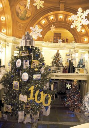 Christmas trees and decorations at the Capitol