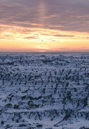 Badlands National Park covered in snow.