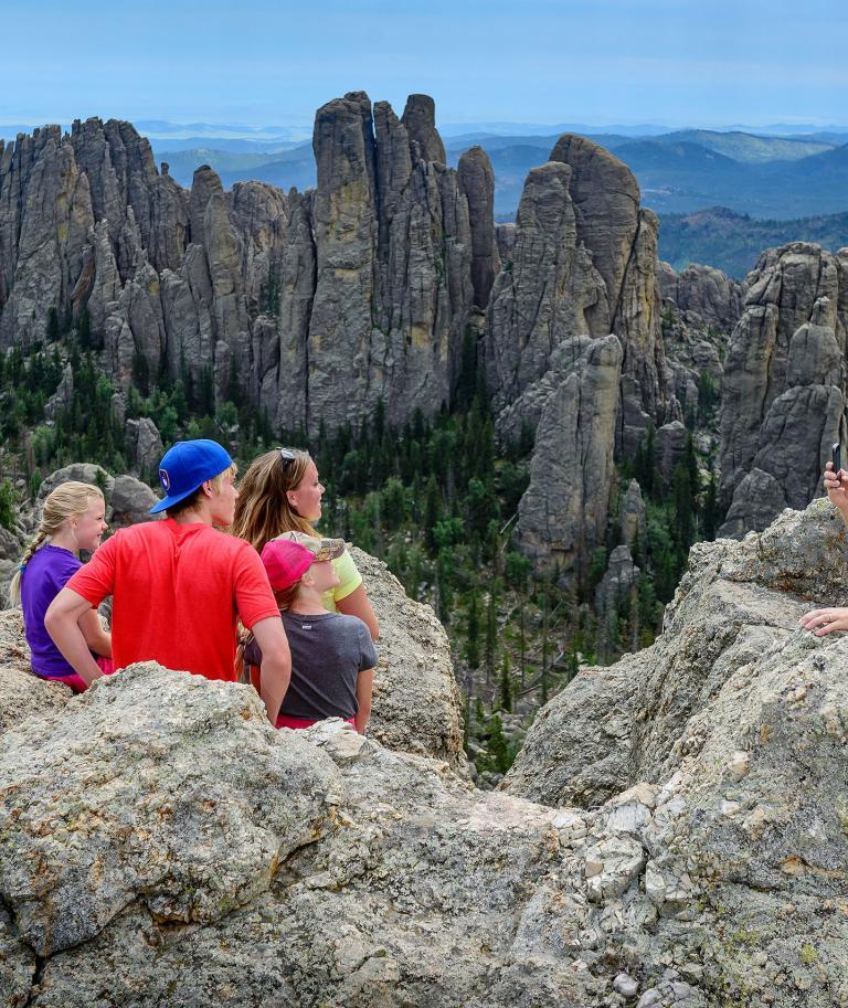Family Hiking Needles Area Custer State Park