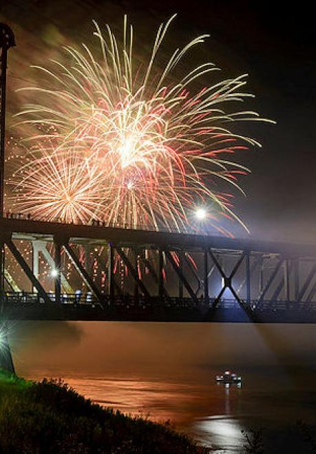 Fireworks over the Meridian Bridge, Yankton, South Dakota